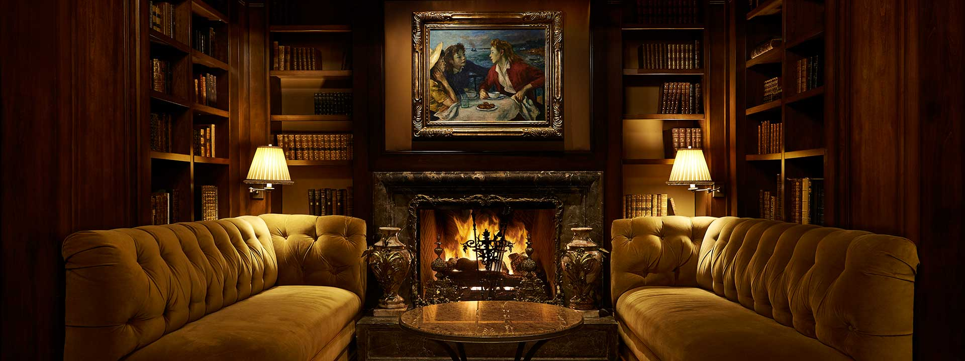 The Library's granite fireplace and snug area