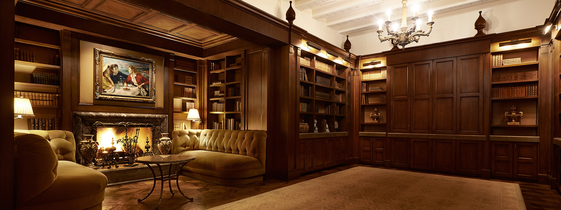 The Library's intimate wood panelled reception space
