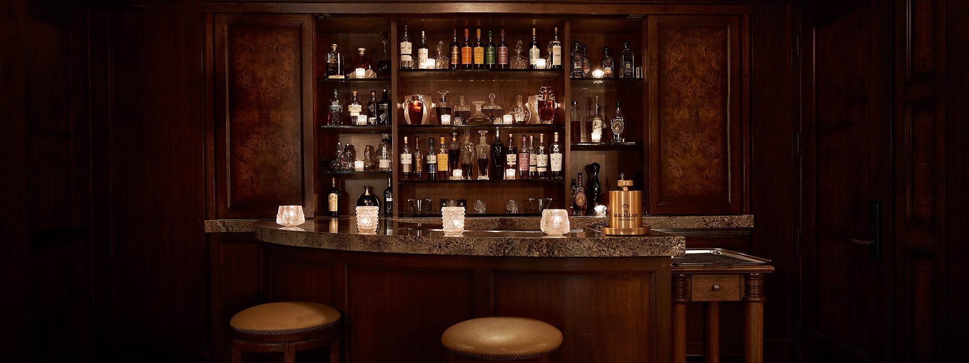 The Cigar Bar counter and spirits collection