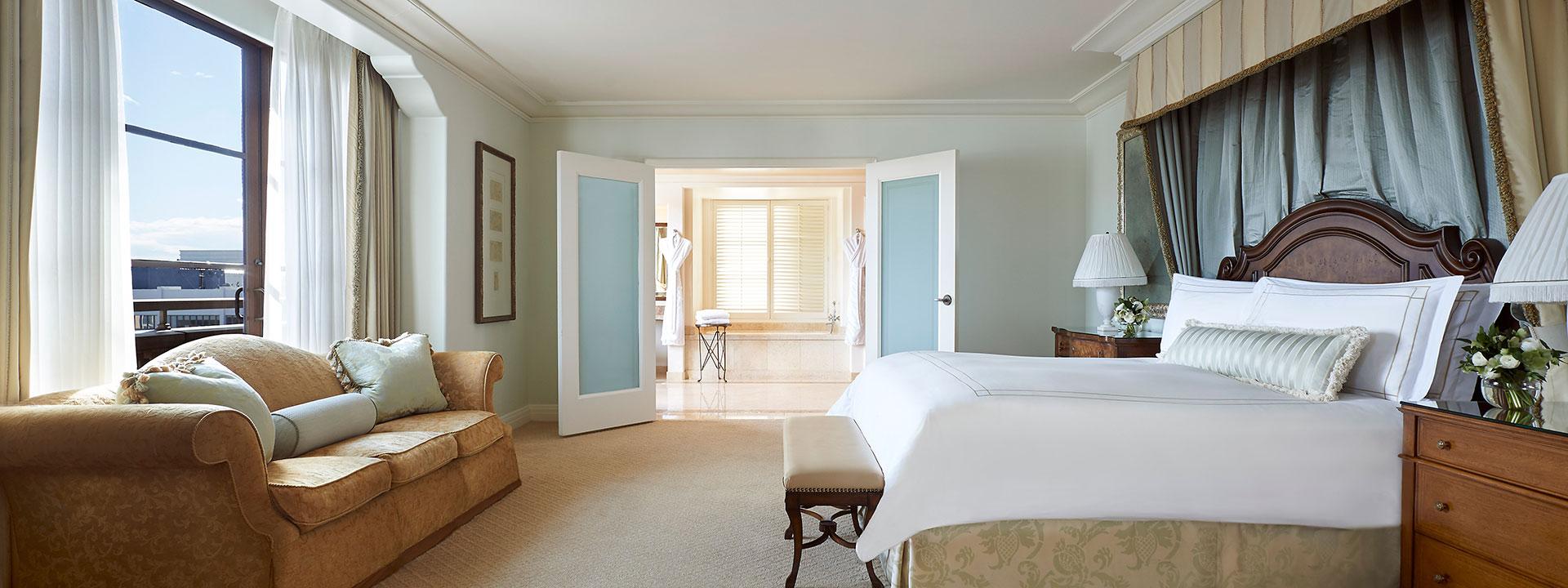 California Suite bedroom and bathroom view