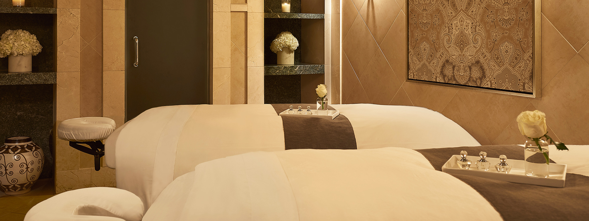 The quiet cocoon of a spa treatment room