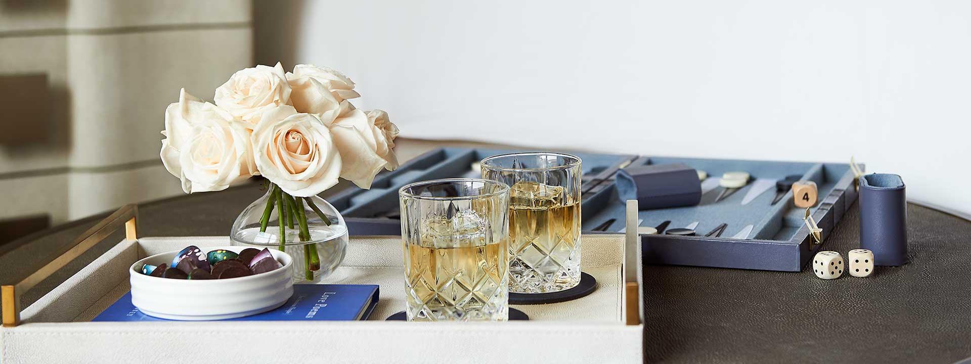Romantic drinks and treats in a bedroom